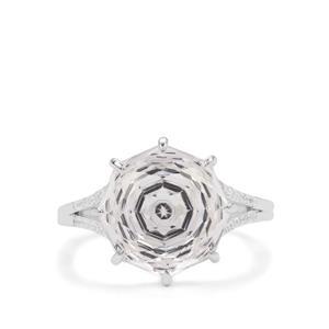 Efflorescence Optic Quartz & White Zircon Sterling Silver Ring ATGW 7.70cts