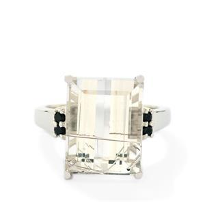 Bahia Rutilite & Black Spinel Sterling Silver Ring ATGW 10.25cts