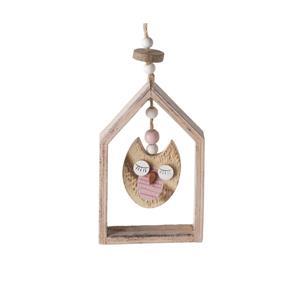 Hanging Wood Owl Decoration