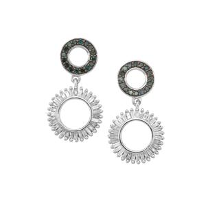 1ct Blue & White Diamond Sterling Silver Earrings