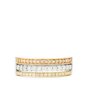 Diamond Ring in 9K Three Tone Gold 0.50ct