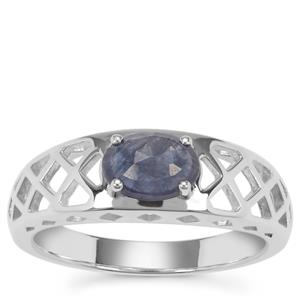 Rose Cut Blue Sapphire Ring in Sterling Silver 0.97ct