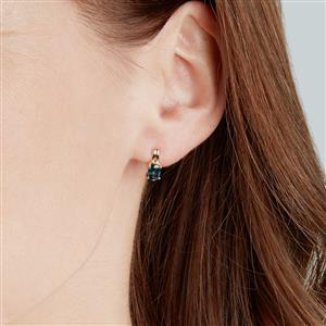 Nigerian Blue Sapphire Earrings  in 10k Gold 1.15cts
