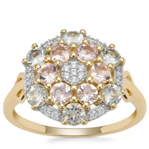 Cherry Blossom™ Morganite, Aquaiba Beryl Ring with White Zircon in 9K Gold 1.27cts