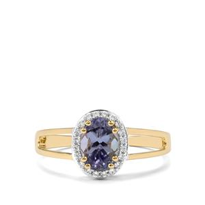 Bi Colour Tanzanite & White Zircon 9K Gold Ring ATGW 1.09cts