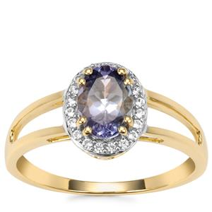 Bi Colour Tanzanite Ring with White Zircon in 9K Gold 1.09cts