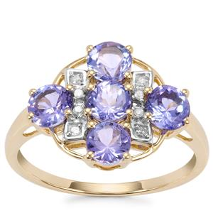 AA Tanzanite Ring with Diamond in 9K Gold 1.96cts