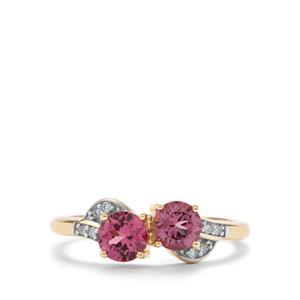 Mahenge Pink Spinel & Diamond 9K Gold Ring ATGW 1.10cts