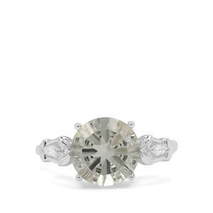 Amami Cut Prasiolite & White Zircon Sterling Silver Ring ATGW 3.64cts