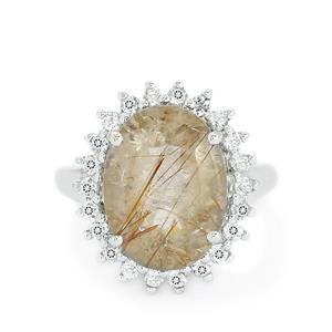 Rutile Quartz & White Topaz Sterling Silver Ring ATGW 9.46cts