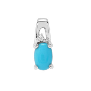 Sleeping Beauty Turquoise Pendant with White Zircon in Sterling Silver 0.40ct