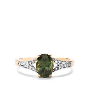 Mandrare Green Apatite & White Zircon 10K Gold Ring ATGW 1.39cts
