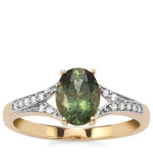 Mandrare Green Apatite Ring with White Zircon in 10K Gold 1.39cts