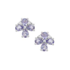 Tanzanite & White Zircon Sterling Silver Earrings ATGW 1.20cts
