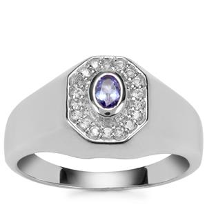 AA Tanzanite Ring with White Topaz in Sterling Silver 0.37ct