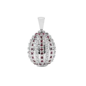 Thai Ruby Moscow Egg Pendant in Sterling Silver 1.41cts (F)