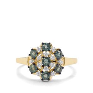 Nigerian Blue Sapphire & White Zircon 9K Gold Ring ATGW 1.01cts