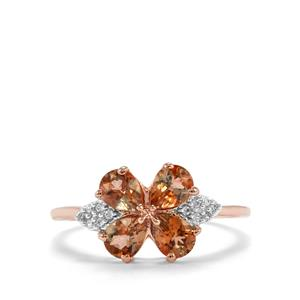 Sopa Andalusite & White Zircon 10K Rose Gold Ring ATGW 1.34cts