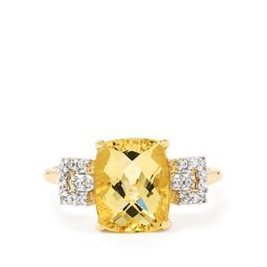 Amarelo Beryl & White Zircon 9K Gold Ring ATGW 2.85cts