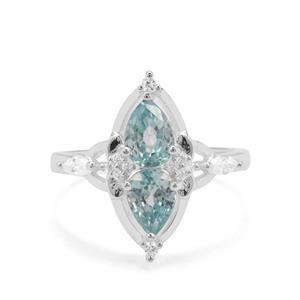 3ct Ratanakiri Blue & White Zircon Sterling Silver Ring