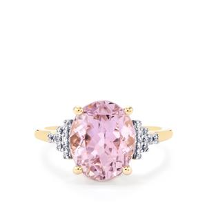 Mawi Kunzite Ring with Diamond in 14K Gold 5.76cts