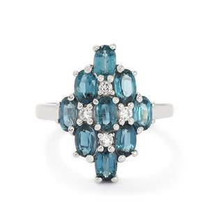 Orissa Kyanite & White Topaz Sterling Silver Ring ATGW 3.15cts