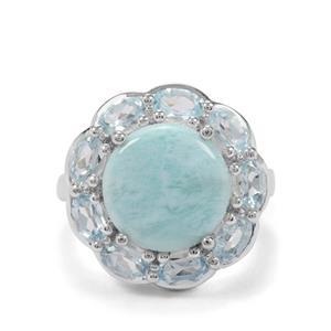 Larimar, Sky Blue Topaz & White Zircon Sterling Silver Ring ATGW 7.40cts