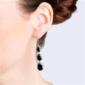 Black Spinel Earrings in Sterling Silver 21.73cts