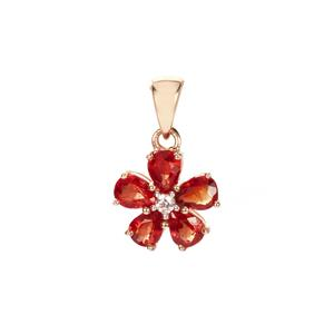 Winza Ruby Pendant with White Zircon in 9K Gold 1.46cts