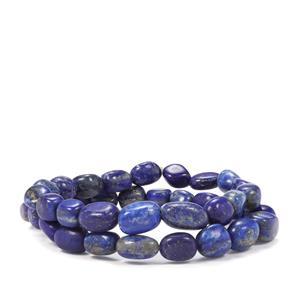 Lapis Lazuli Set of 2 Tumble Bead Elastic Bracelet 180cts