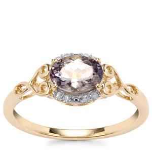 Bi Colour Tanzanite Ring with Diamond in 9K Gold 1.06cts