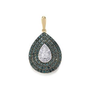 3/4ct Blue & White Diamond 9K Gold Pendant