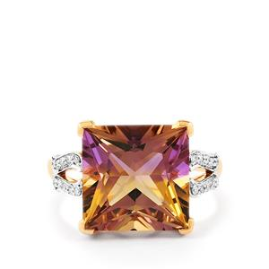 Anahi Ametrine Ring with Diamond in 14K Rose Gold 6.96cts
