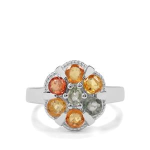 2.14ct Songea Multi Sapphire Sterling Silver Ring