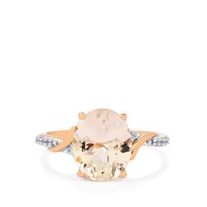Alto Ligonha Morganite Ring with White Zircon in 9K Rose Gold 2.91cts