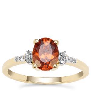 Zanzibar Sunburst Zircon Ring with Diamond in 9K Gold 1.89cts