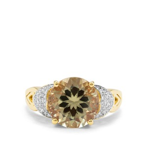 Csarite® & Diamond 18K Gold Ring ATGW 5.64cts