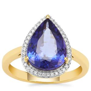 AAA Tanzanite Ring with Diamond in 18K Gold 4.05cts