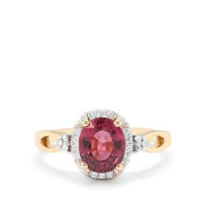 Malawi Garnet & Diamond 18K Gold Tomas Rae Ring MTGW 2.15cts