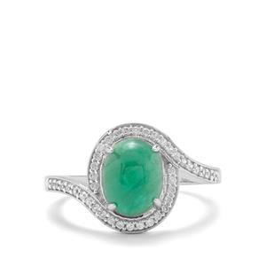 Itabira Emerald & White Zircon 9K White Gold Ring ATGW 2.40cts