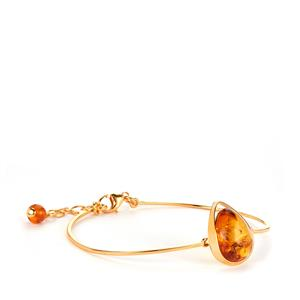 Baltic Cognac Amber (13x16mm) Bangle in Gold Tone Sterling Silver