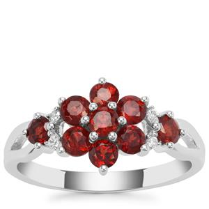 Nampula Garnet Ring with White Zircon in Sterling Silver 1.32cts