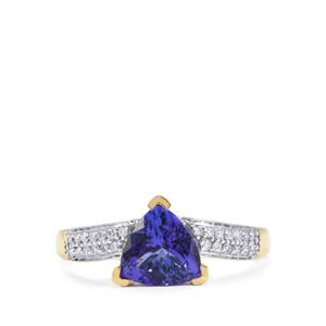 AAA Tanzanite Ring with Diamond in 18k Gold 1.68cts