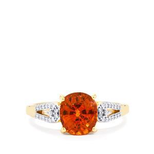 Mandarin Garnet Ring with Diamond in 18K Gold 2.96cts