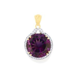 Moroccan Amethyst Pendant with Diamond in 18K Gold 12cts
