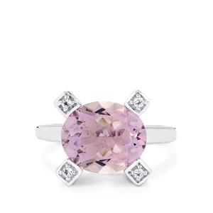 Rose De France Amethyst & White Topaz Sterling Silver Ring ATGW 5.06cts