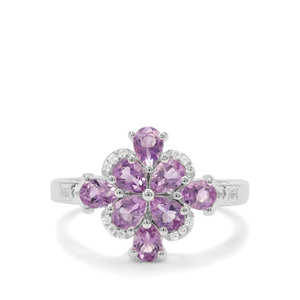 Moroccan Amethyst & White Zircon Sterling Silver Ring ATGW 1.20cts