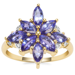 AAA Tanzanite Ring with Diamond in 9K Gold 2.11cts