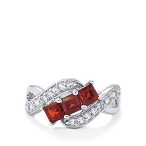 Nampula Garnet Ring with White Topaz in Sterling Silver 1.55cts