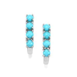 Sleeping Beauty Turquoise Earrings in Sterling Silver 1.43cts